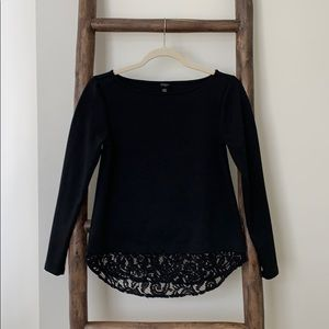 Ann Taylor Long Sleeve Blouse with Lace Trim